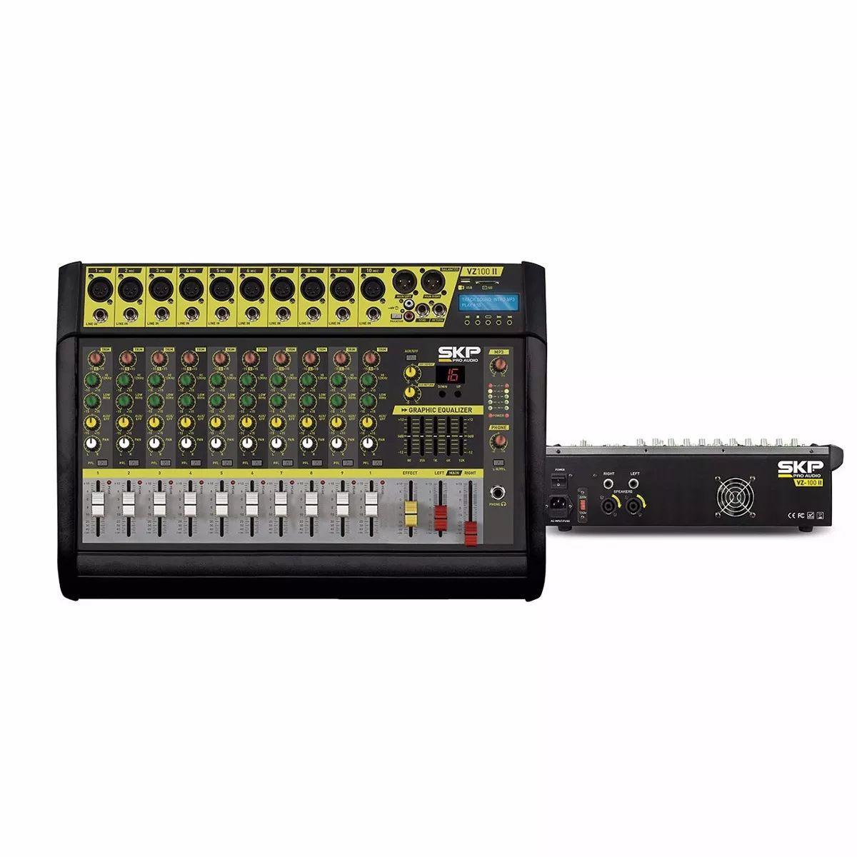 Mixer Mesa De Som Amplificado Usb 10 Canais - Skp Vz-100ll