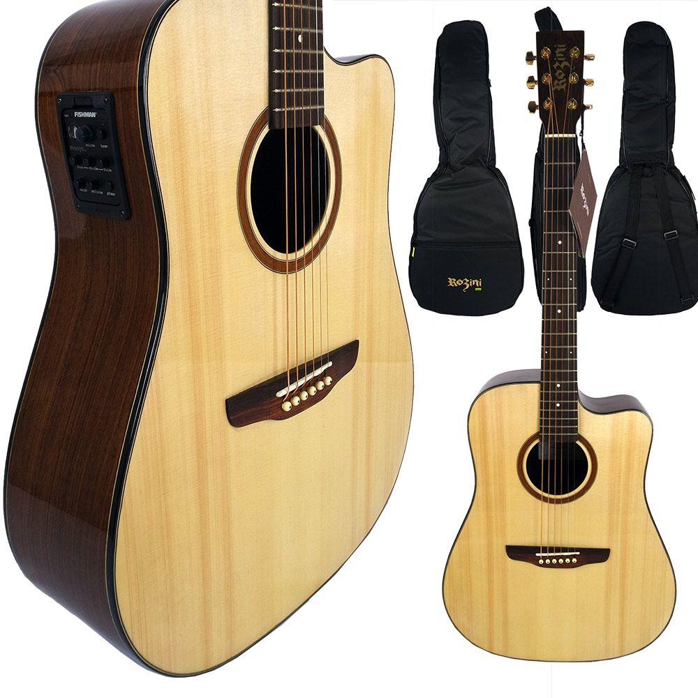 Violão Elétrico Folk Rozini Rx 320 ATN Hendrix  + Capa Luxo