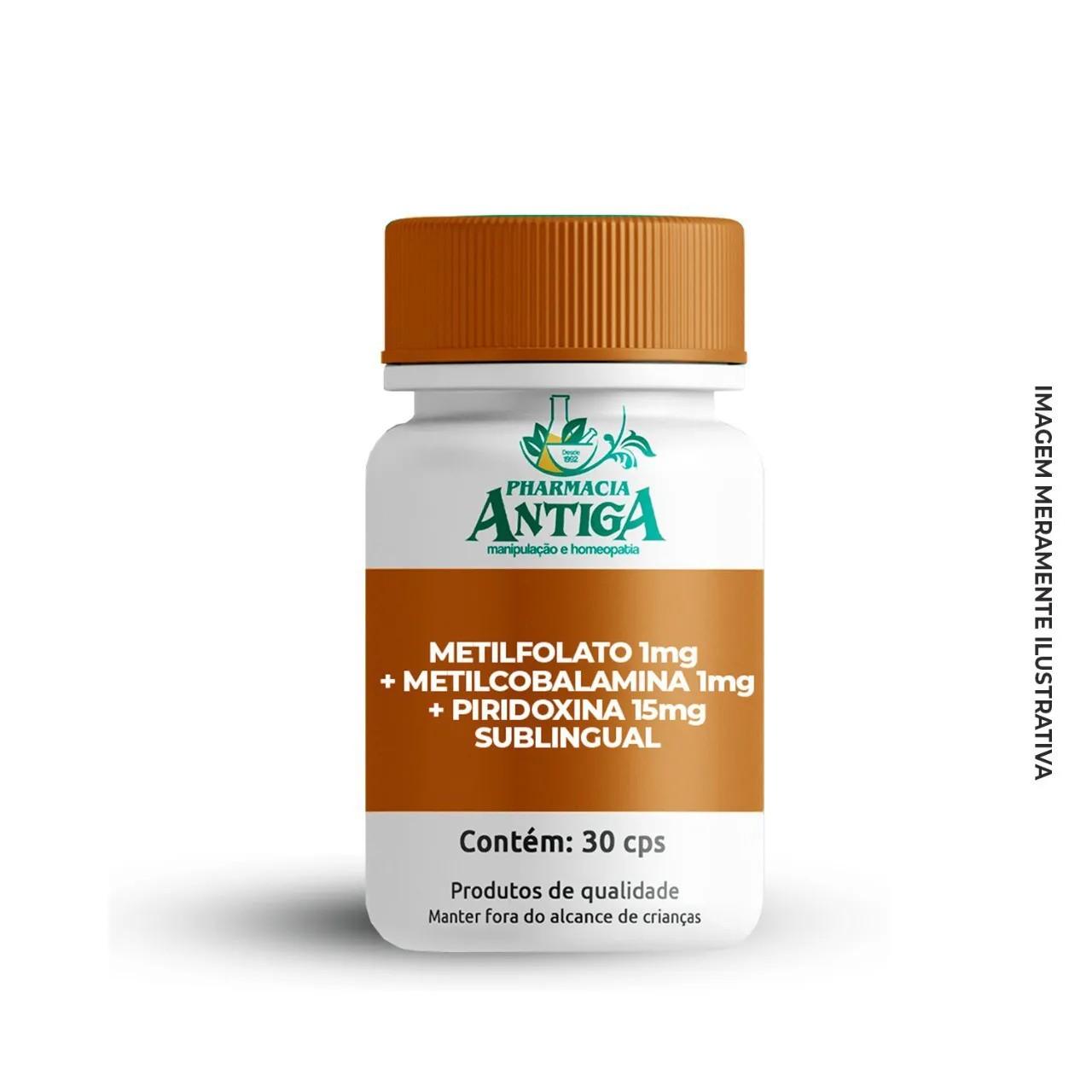 METILFOLATO 1MG + METILCOBALAMINA 1MG + PIRIDOXINA 15MG SUBLINGUAL - 30cps