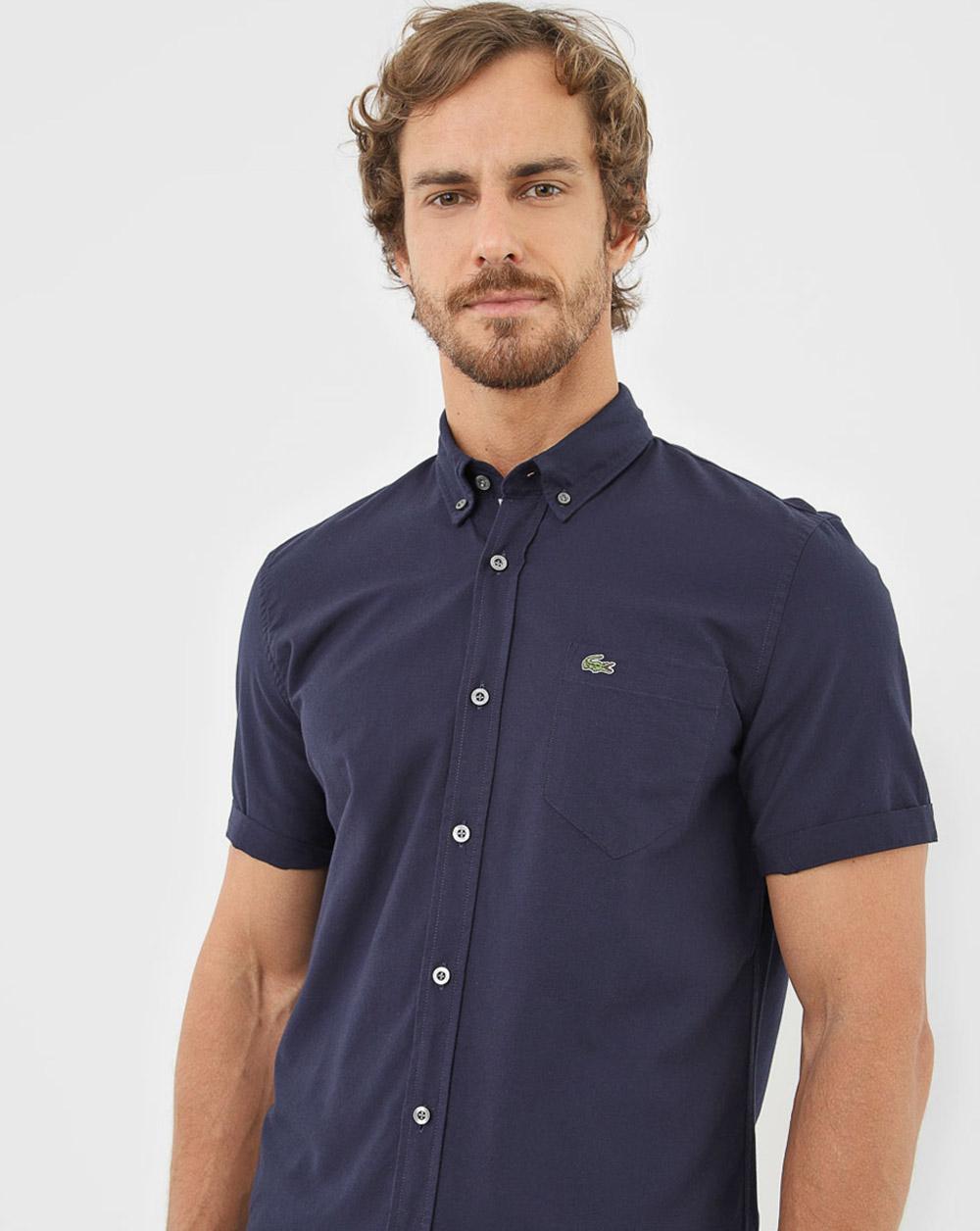 Camisa Lacoste Reta Bolso Azul-Marinho