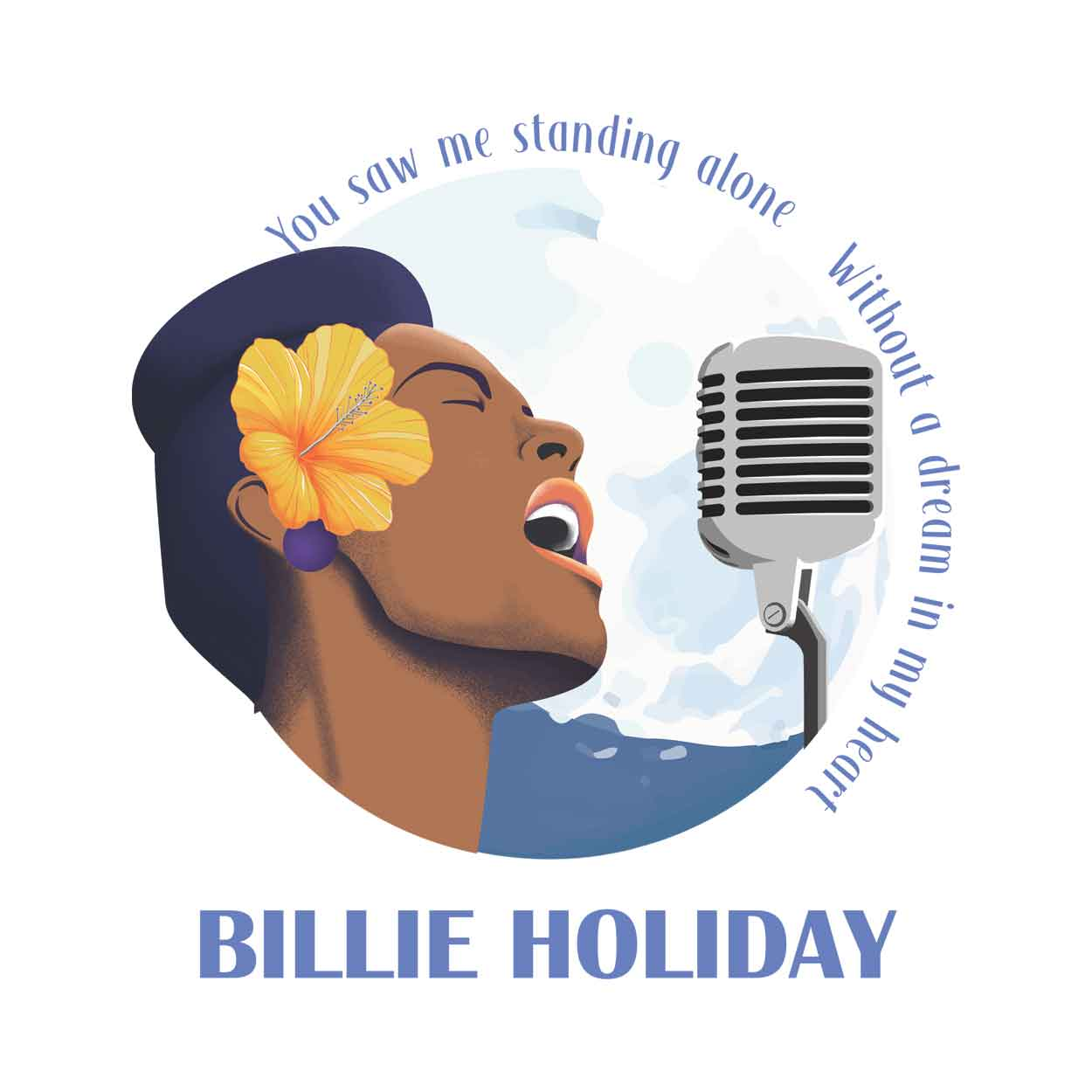 Camiseta Blue Moon - Billie Holiday - Feminino