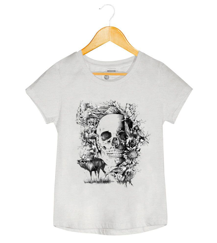 Camiseta - Caveira Folk - Feminino