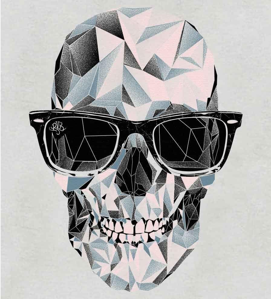 Camiseta - Caveira Geométrica - Feminino