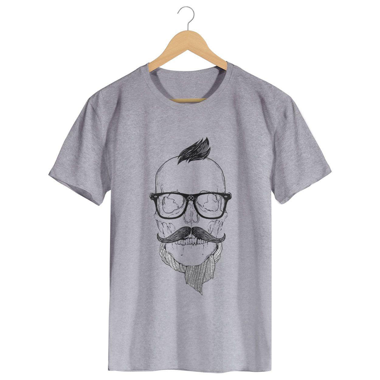 Camiseta Caveira Hipster - Masculino