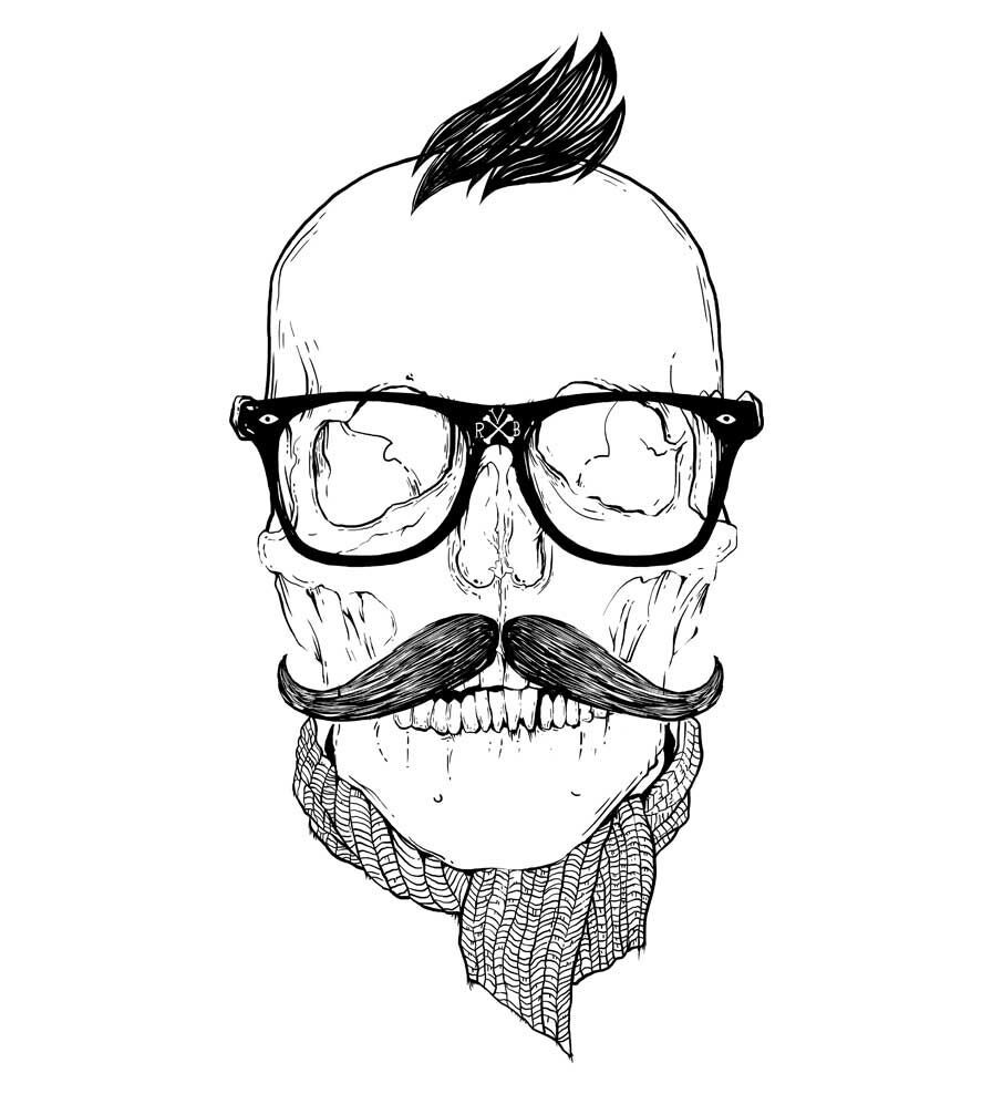 Camiseta - Caveira Hipster - Masculino