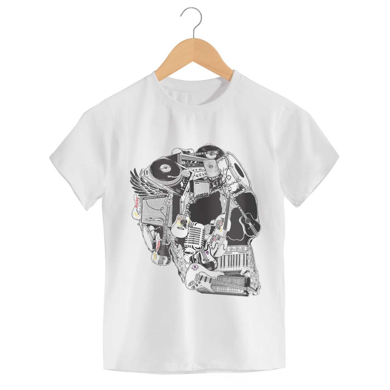 Camiseta Caveira Instrumentos - Feminino