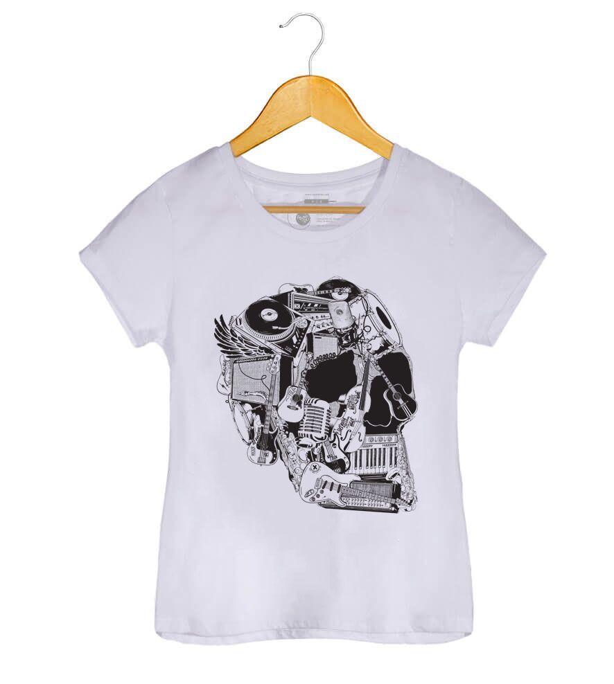 Camiseta - Caveira Instrumentos - Feminino