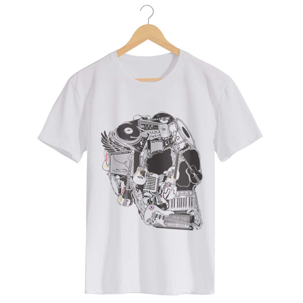 Camiseta Caveira Instrumentos - Masculino