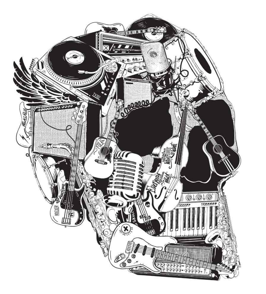 Camiseta - Caveira Instrumentos - Masculino