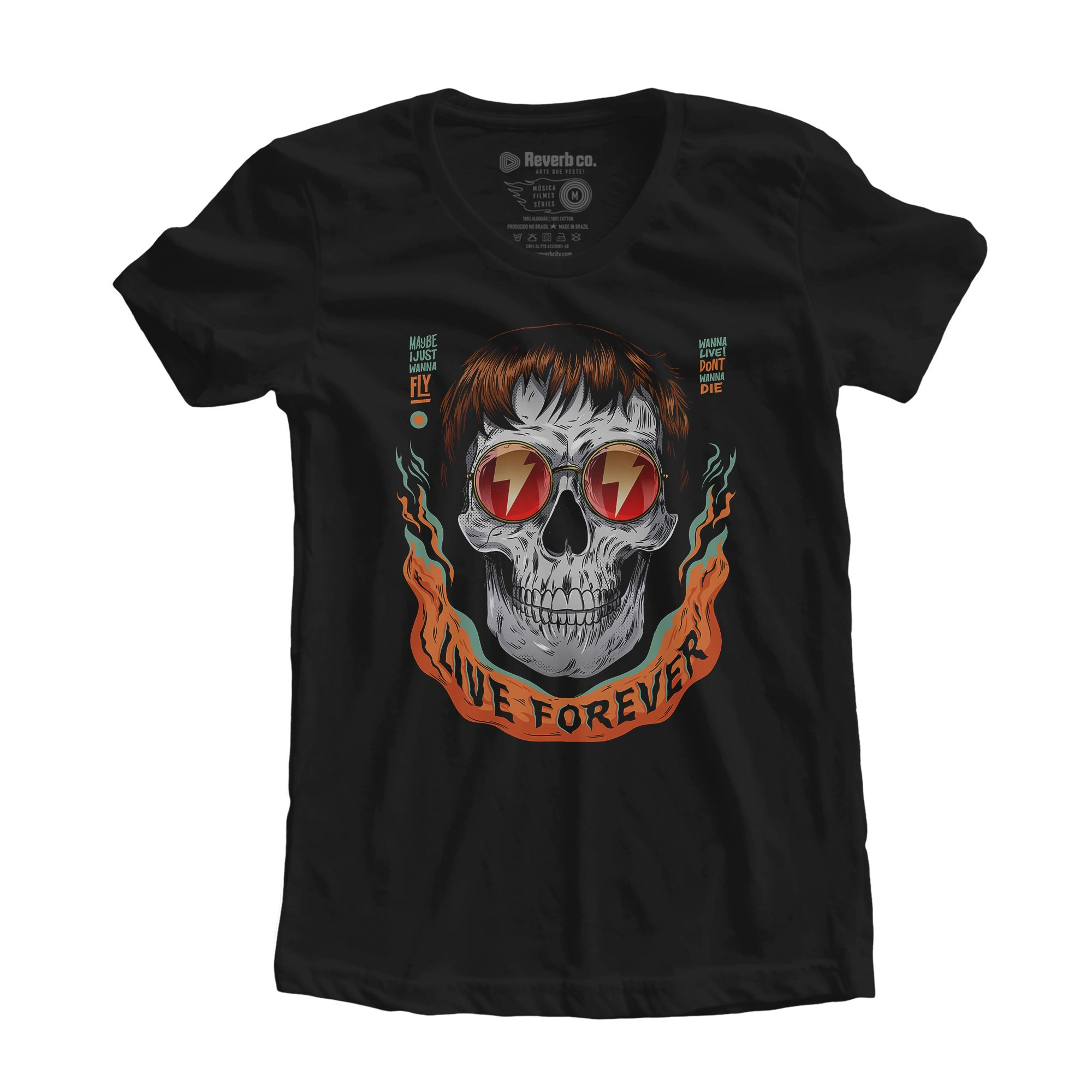 Camiseta Caveira Live Forever - Feminino