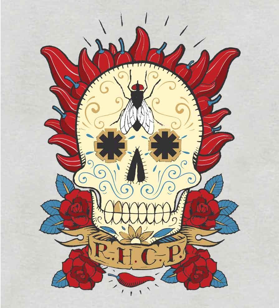 Camiseta - Caveira Mexicana - Red Hot Chilli Peppers - Feminino