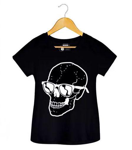 Camiseta - Caveira Óculos - Feminino