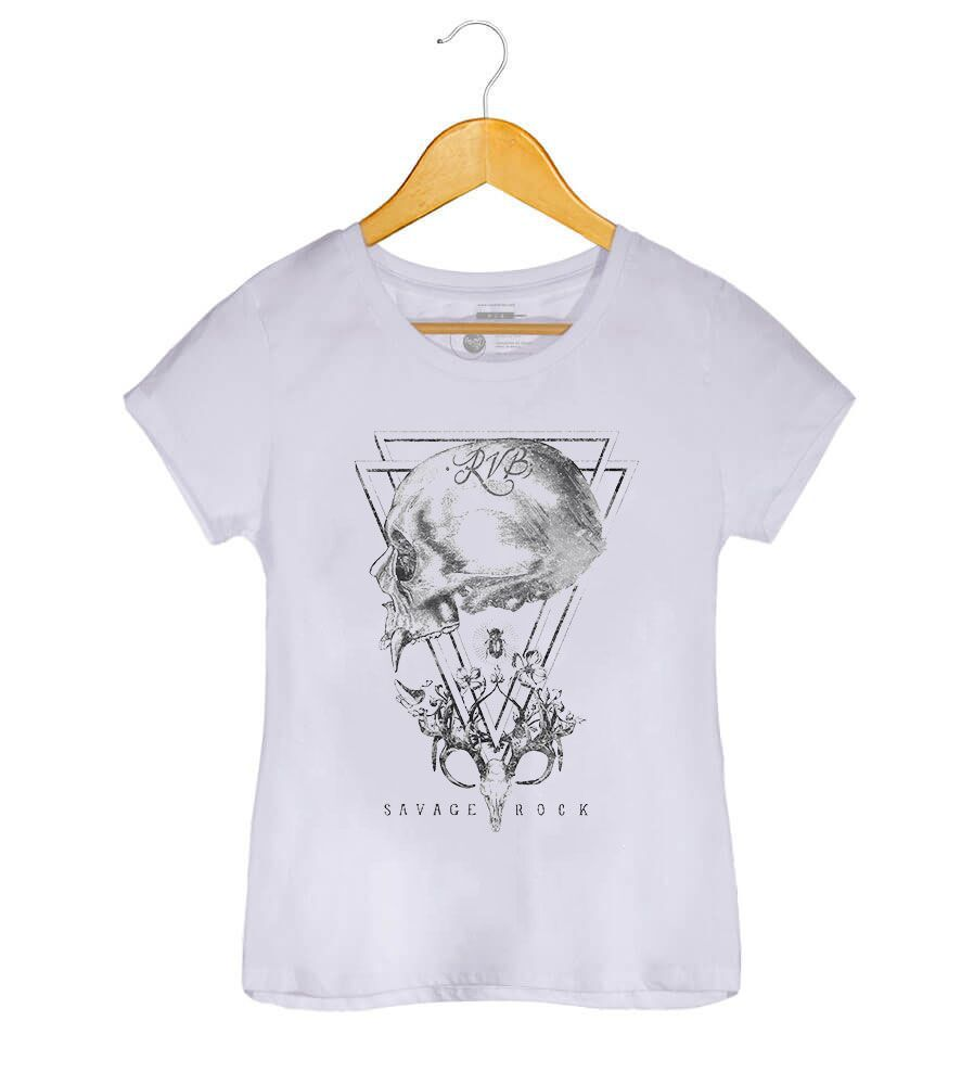 Camiseta - Caveira Savage Rock - Feminino