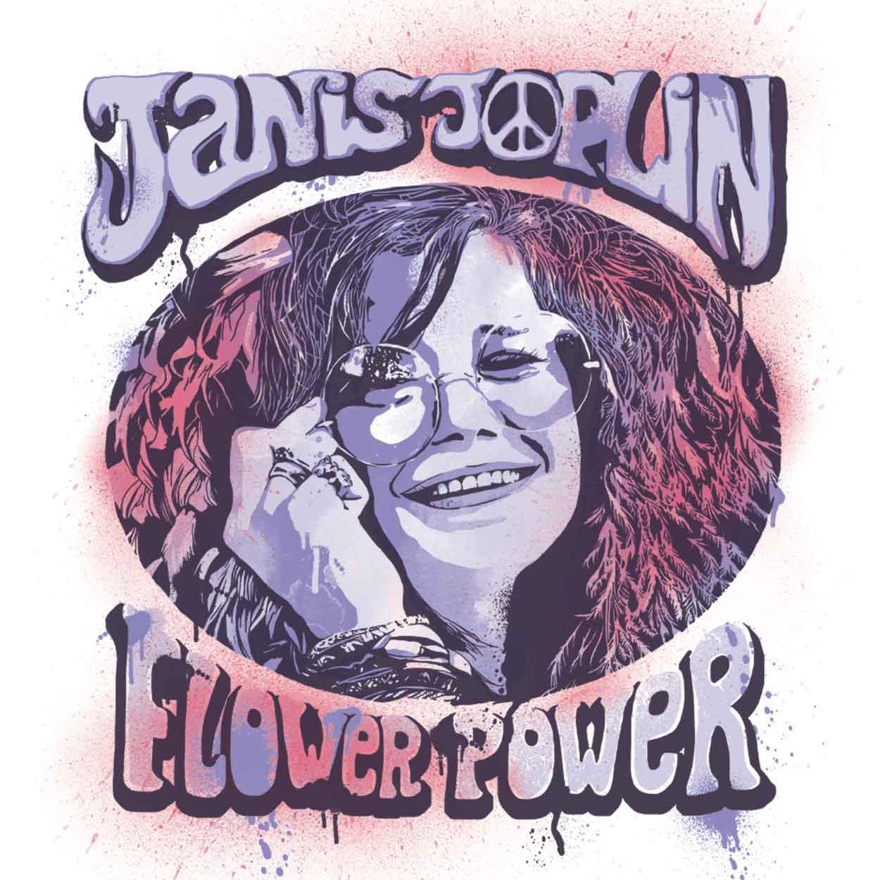 Camiseta Flower Power - Janis Joplin - Feminino