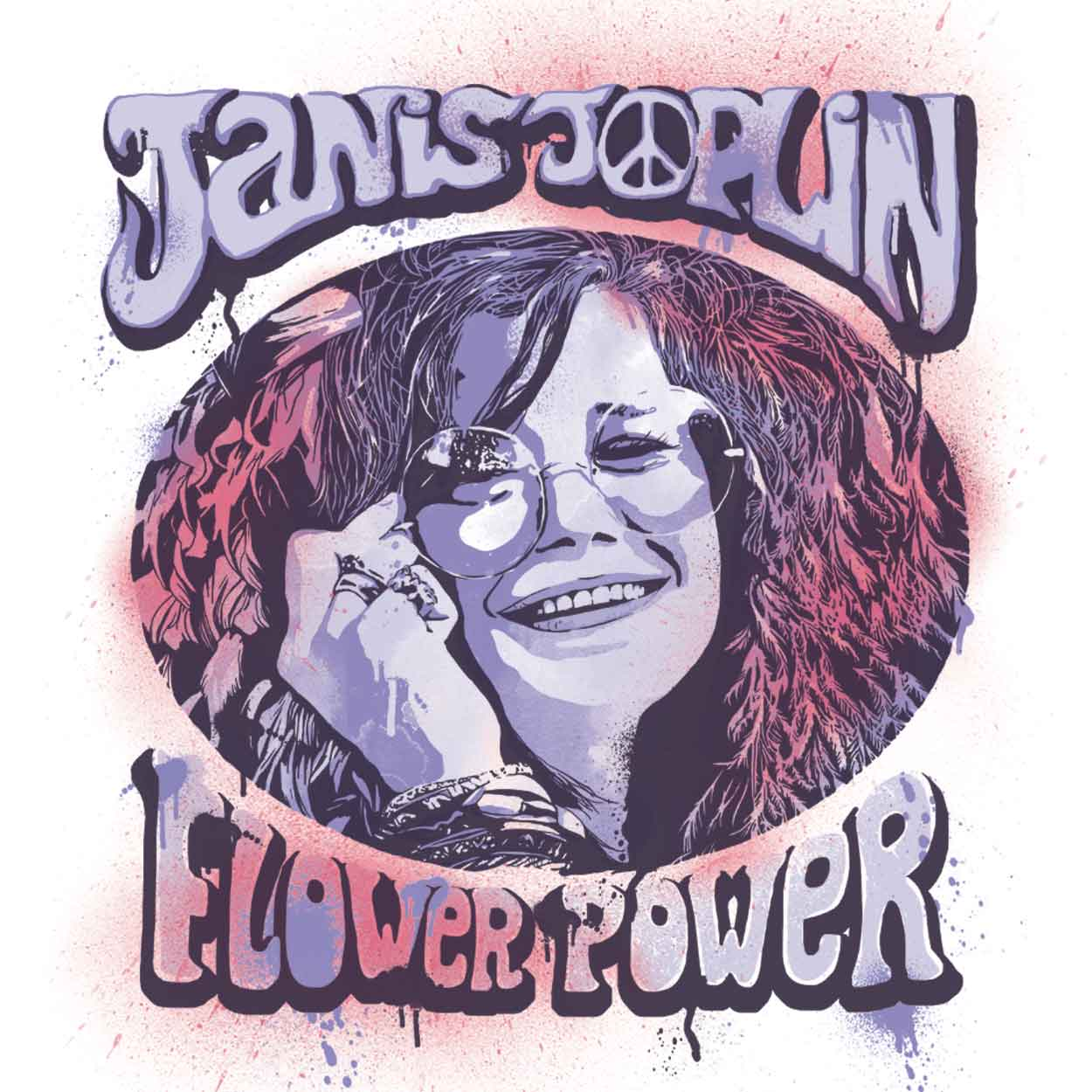 Camiseta - Flower Power - Janis Joplin - Masculino