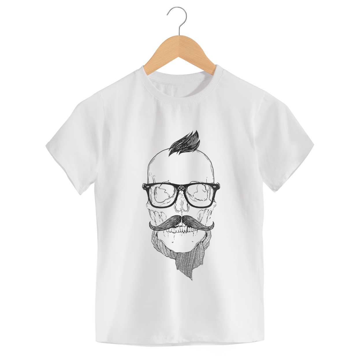 Camiseta Hipster - Caveira - Infantil