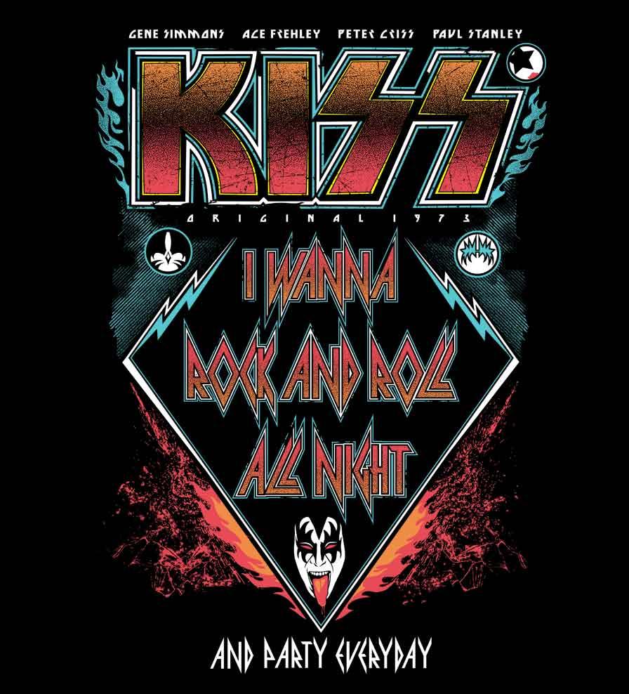 Camiseta I Wanna Rock And Roll All Night - Kiss -  Masculino