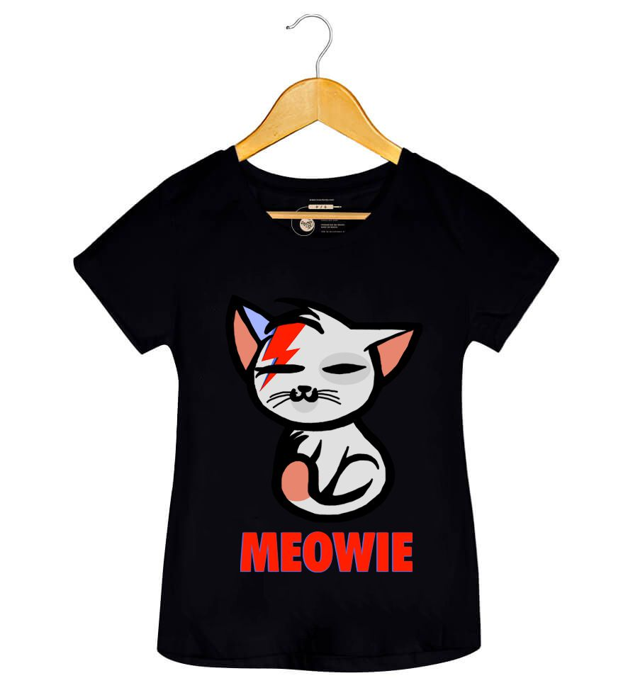 Camiseta - Meowie - David Bowie - Feminino