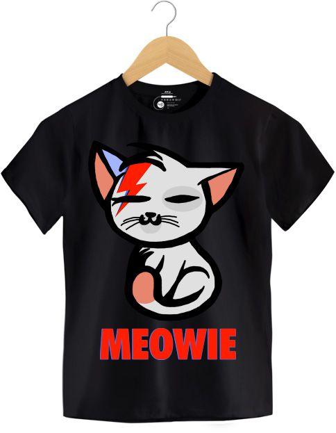 Camiseta - Meowie -  David Bowie - Infantil