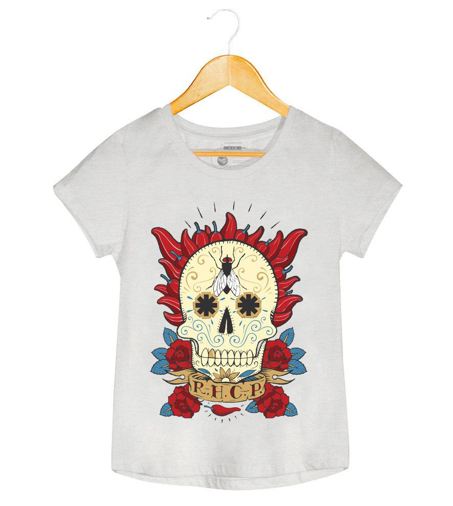 Camiseta - Caveira Mexicana - Red Hot Chili Peppers - Feminino