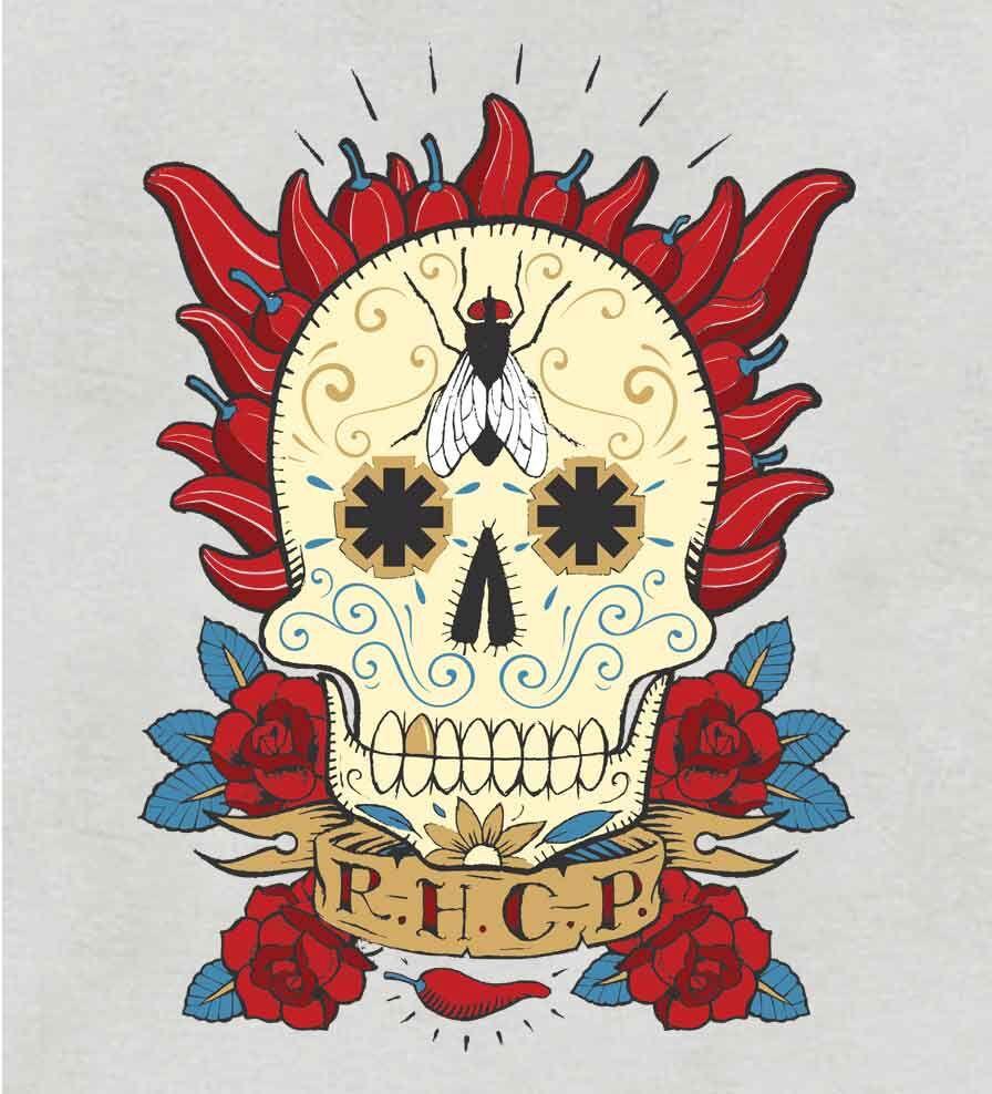 Camiseta - Caveira Mexicana - Red Hot Chili Peppers - Feminino