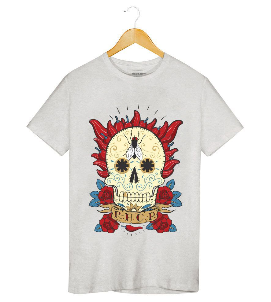 Camiseta - Red Hot Chili Peppers - Caveira Mexicana - Masculino