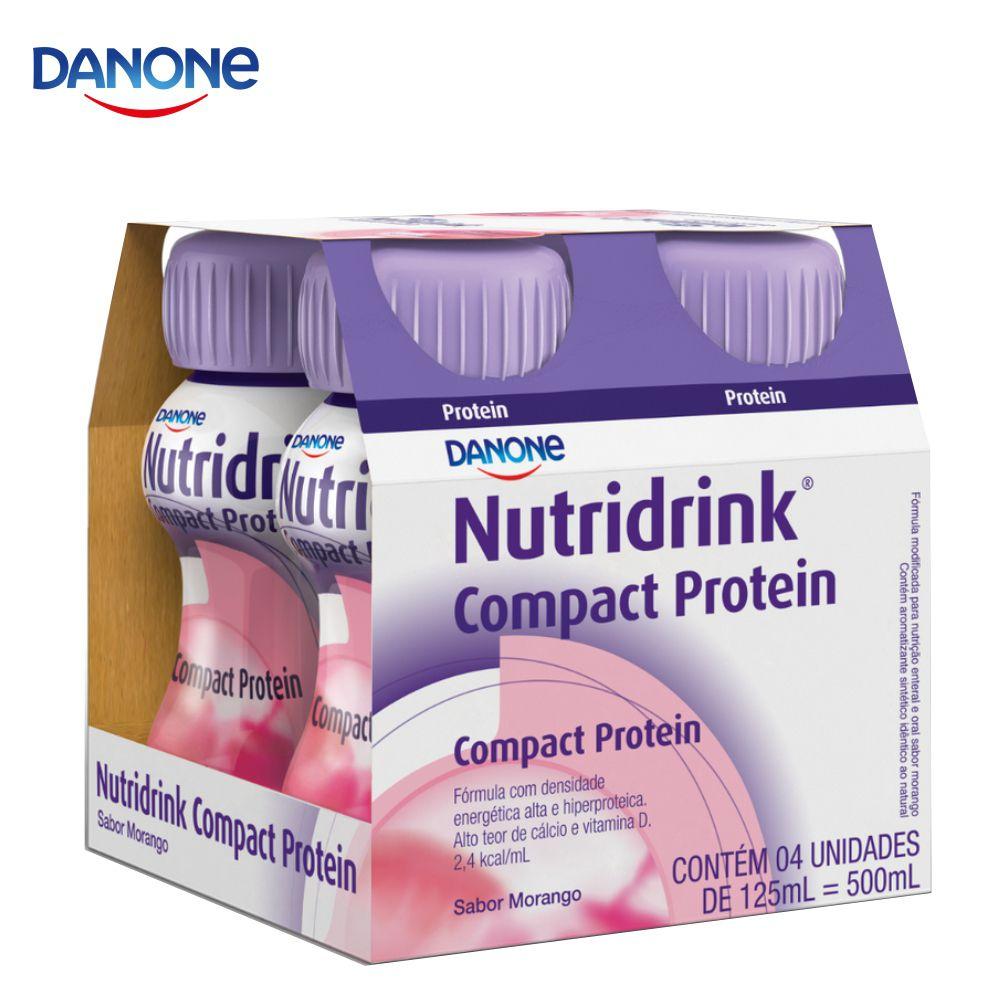 Nutridrink Compact Protein - 4 unidades de 125ml - Sabor Morango - Danone
