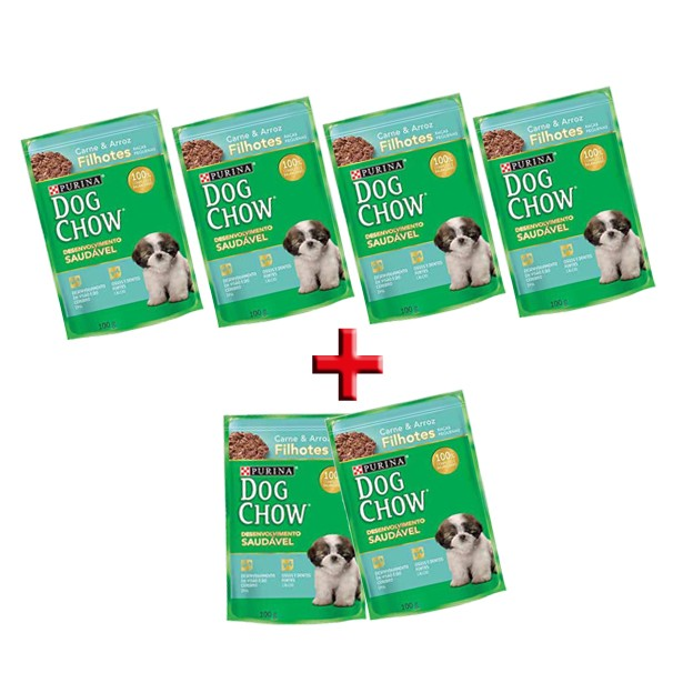 Alimento Úmido Dog Chow Filhotes Carne e Arroz - Leve 6