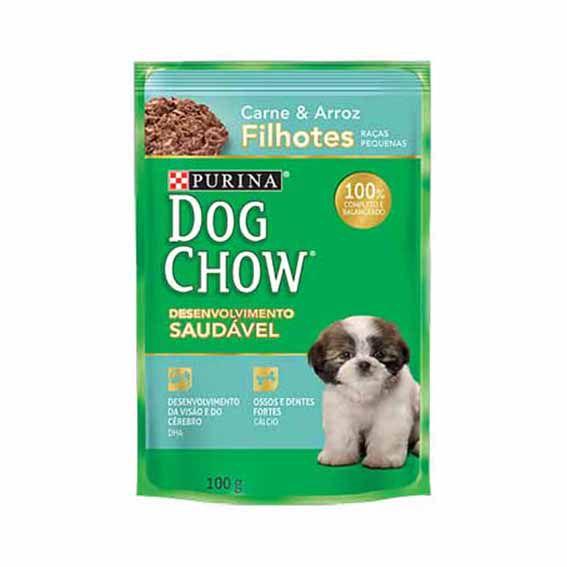 Alimento Úmido Dog Chow Filhotes Raças Pequenas Carne e Arroz