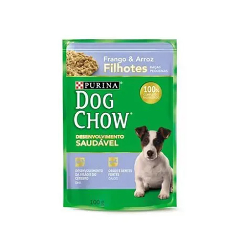 Alimento Úmido Dog Chow Filhotes Raças Pequenas Frango e Arroz - 7un.