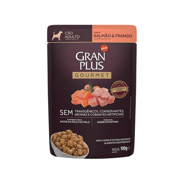 Alimento Úmido Gran Plus Gourmet Cães Adultos Salmão e Frango