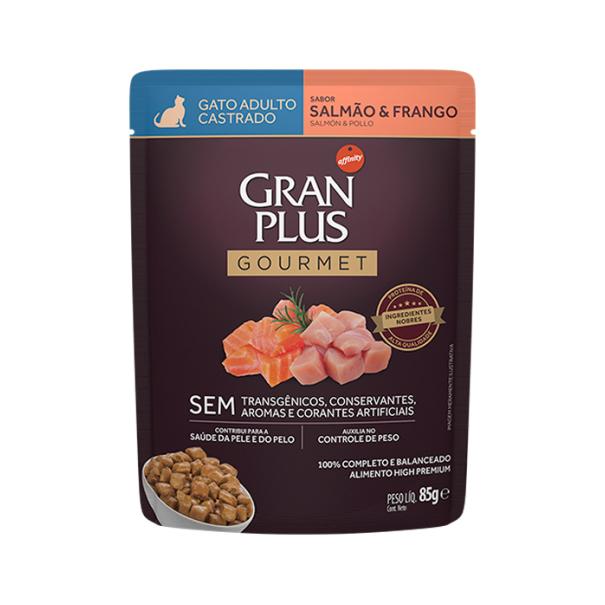 Alimento Úmido Gran Plus Sachê Gourmet Gato Castrado Salmão e Frango