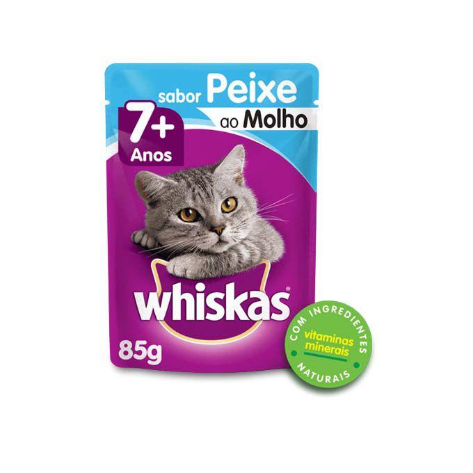 Alimento Úmido Whiskas para Gatos Senior Adultos Sabor Peixe ao Molho