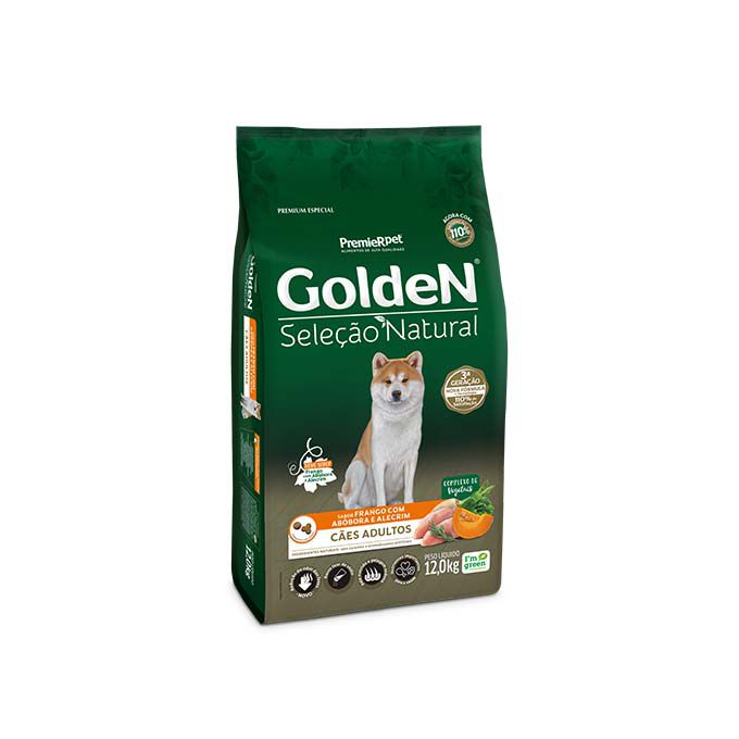 Ração Golden Seleção Natural Cães Adultos Frango com Abóbora e Alecrim