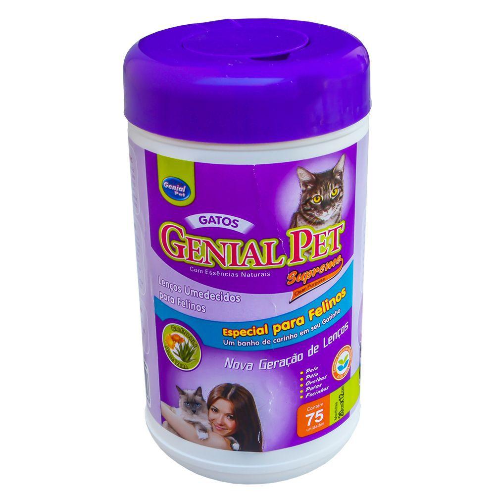 Lenço Umedecido Genial Pet para Cachorros e Gatos