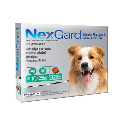 NexGard Antipulgas e Carrapatos para Cães de 10,1 a 25kg