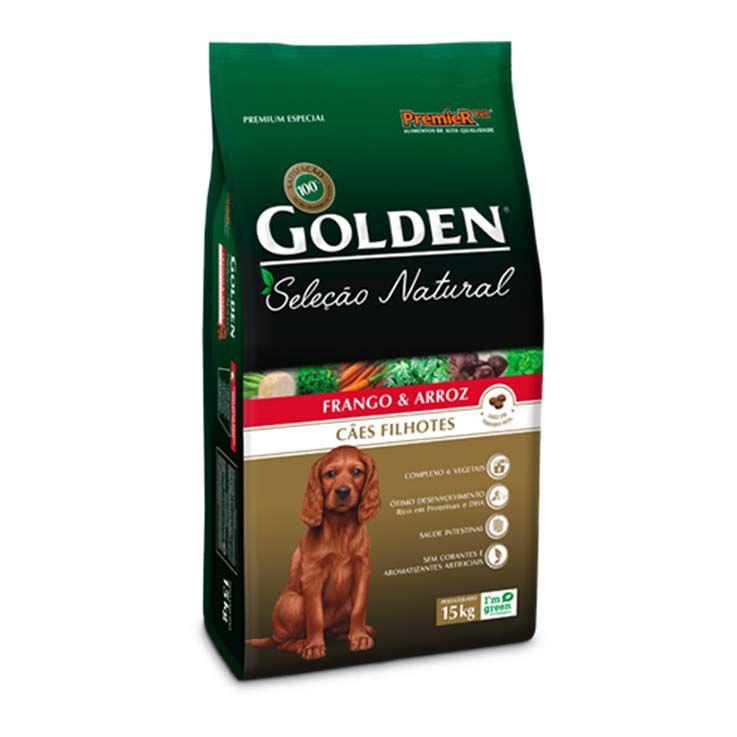 Ração Golden Seleção Natural Cães Filhotes Frango e Arroz