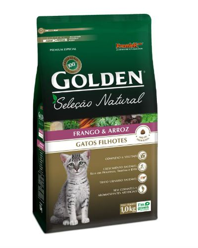 Ração Golden Seleção Natural Gatos Filhotes Frango e Arroz