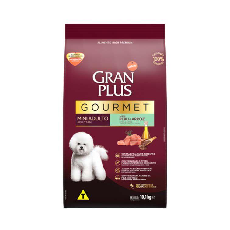 Ração Gran Plus Gourmet Cães Adultos Mini Peru e Arroz