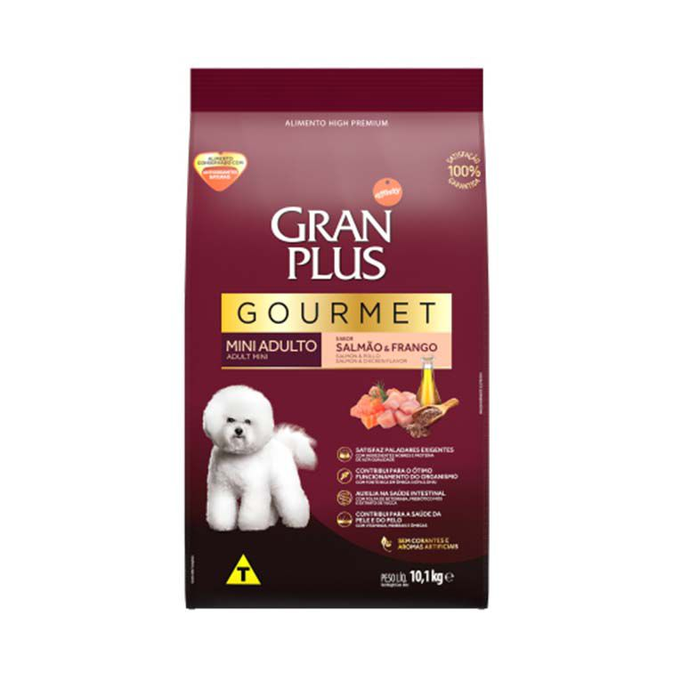 Ração Gran Plus Gourmet Cães Adultos Mini Salmão e Frango