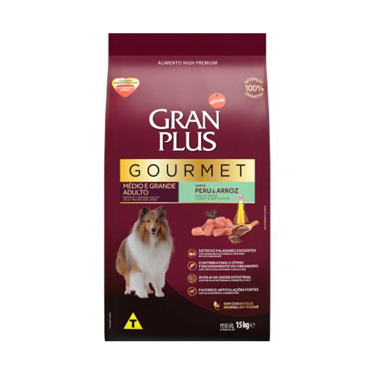 Ração Gran Plus Gourmet Cães Médios e Grandes Adultos Peru e Arroz