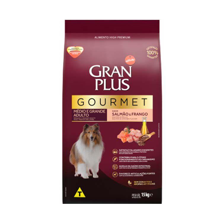 Ração Gran Plus Gourmet Cães Médios e Grandes Adultos Salmão e Frango