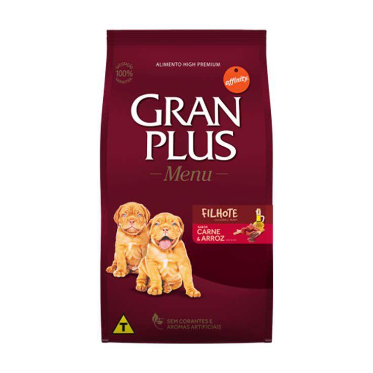 Ração Gran Plus Menu Cães Filhotes Carne e Arroz