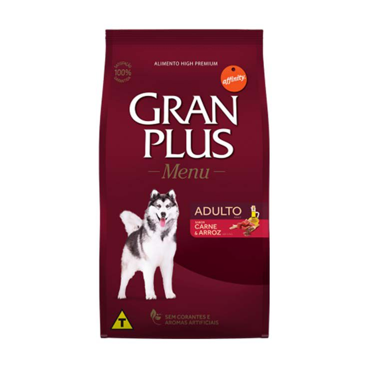 Ração Gran Plus Menu Cães Adultos Carne e Arroz