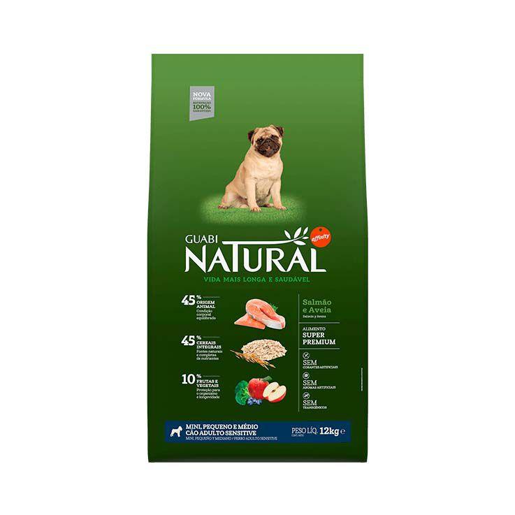 Ração Guabi Natural Cães Adultos Sensitive Mini, Pequeno e Médio Salmão e Aveia