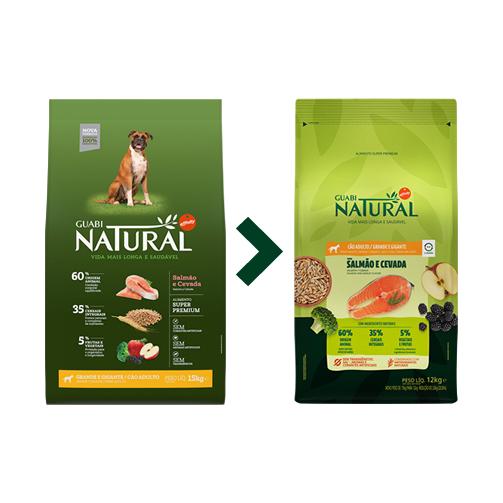 Ração Guabi Natural Integral Cães Adultos Grande Salmão e Cevada