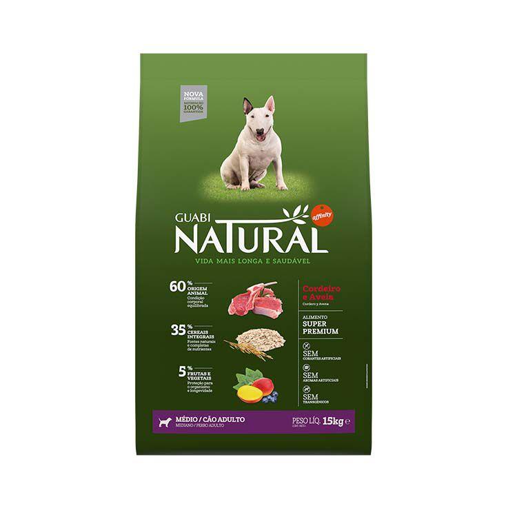 Ração Guabi Natural Integral Cães Adultos Médios Cordeiro e Aveia