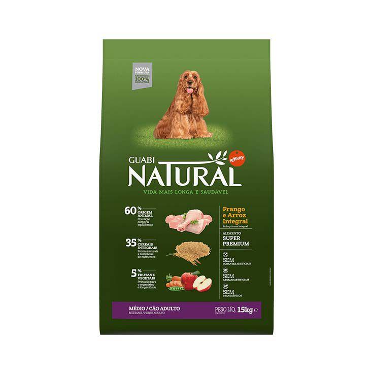 Ração Guabi Natural Integral Cães Adultos Médios Frango e Arroz