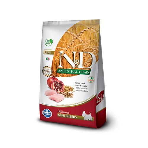 Ração N&D Ancestral Grain Cães Adultos Mini Frango e Romã