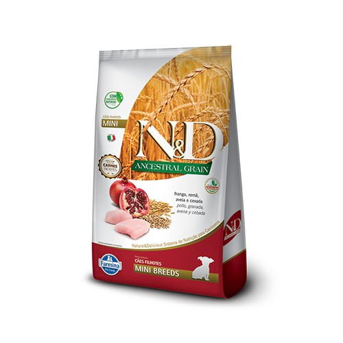 Ração N&D Ancestral Grain Cães Puppy Mini Frango e Romã